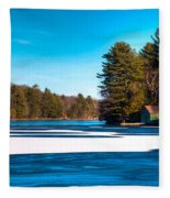 Early Winter On Old Forge Pond Fleece Blanket