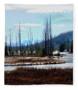 Early Winter On The Yellowstone Fleece Blanket