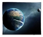 Earth And Moon Space View Fleece Blanket