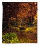 Earth Tones In A Illinois Woods Fleece Blanket