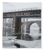 East Falls - The Frozen Schuylkill River Fleece Blanket