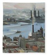 East River From Shelton Hotel Fleece Blanket