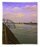 East River View Looking North Fleece Blanket