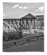 East St. Claire Covered Bridge Black And White Fleece Blanket