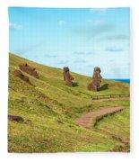 Easter Island Moai At Rano Raraku Fleece Blanket