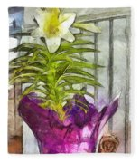 Easter Lily And Doll Fleece Blanket