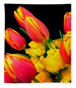 Easter Tulips And Roses Fleece Blanket