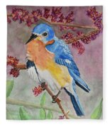 Eastern Bluebird Vertical  Fleece Blanket