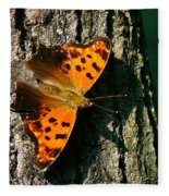 Eastern Comma Butterfly Fleece Blanket
