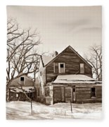 Eastern Montana Farmhouse Sepia Fleece Blanket