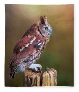 Eastern Screech Owl Red Morph Profile Fleece Blanket