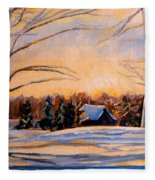 Eastern Townships In Winter Fleece Blanket
