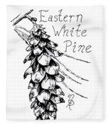 Eastern White Pine Cone On A Branch Fleece Blanket
