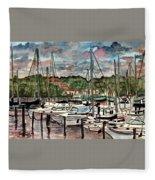 Eau Gallie Seascape Painting Fleece Blanket