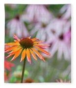 Echinacea Purpurea Orange Passion Flower Fleece Blanket