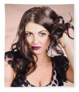 Edgy Hair Fashion Model With Brunette Hairstyle Fleece Blanket