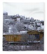 Edinburgh Castle And National Galleries Of Scotland In Winter Fleece Blanket