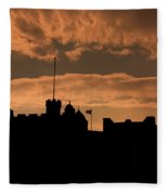 Edinburgh Castle Silhouette  Fleece Blanket