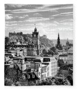 Edinburgh From Calton Hill.    Black And White Fleece Blanket