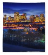 Edmonton Winter Skyline Fleece Blanket