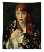 Edna Smith In A Japanese Wrap 1915 Fleece Blanket