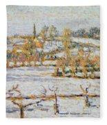 Effect Of Snow At Eragny Fleece Blanket