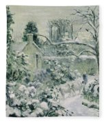 Effect Of Snow With Cows At Montfoucault Fleece Blanket