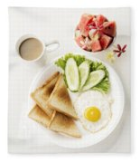 Egg Salad Toast Fruit And Coffee Breakfast Set Fleece Blanket