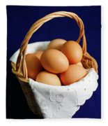 Eggs In A Wicker Basket. Fleece Blanket