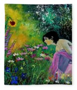 Eglantine With Flowers Fleece Blanket