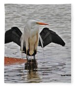Egret And Cormorant Wings Fleece Blanket