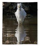 Egret Catches A Stickleback Fleece Blanket