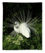 Egret Fan Dancer Fleece Blanket