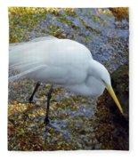 Egret Fishing Fleece Blanket