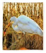 Egret Fishing In Sunset At Forsythe National Wildlife Refuge Fleece Blanket