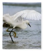 Egret Hunting Fleece Blanket