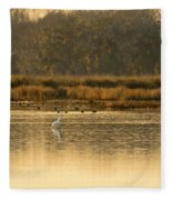 Egret In The Low Country Fleece Blanket