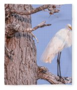 Egret In Tree Fleece Blanket