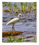 Egret On A Rock Fleece Blanket