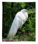 Egret On Guard Fleece Blanket