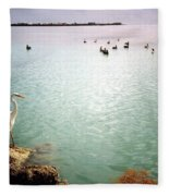 Egret On Marathon Key Fleece Blanket