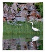 Egret On The Danvers River Fleece Blanket