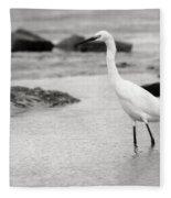 Egret Patrolling In Black And White Fleece Blanket