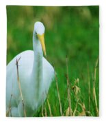 Egret Stare Down Fleece Blanket