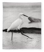 Egret Step In Black And White Fleece Blanket