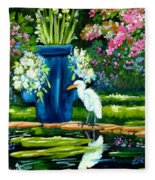Egret Visits Goldfish Pond Fleece Blanket