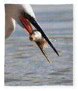 Egret With Fish Fleece Blanket