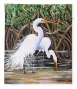 Egrets And Mangroves Fleece Blanket