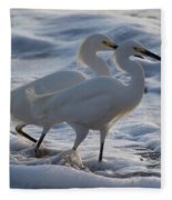 Egrets In The Shallows Fleece Blanket