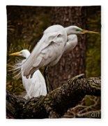Egrets On A Branch Fleece Blanket
